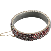 Victorian Bohemian Czech Garnet Bangle Bracelet, Antique Garnet Bracelet