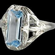 Blue Topaz Fleur De Lis Cocktail Ring