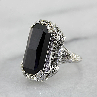 Beautiful Black Onyx Filigree Ring, Art Deco Era Cocktail Ring, Gorgeous Carved Onyx Gemstone