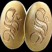 Dapper Old English: Beautiful S Monogrammed Antique Cufflinks