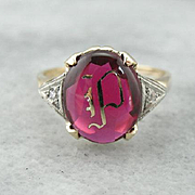 """Vintage Synthetic Ruby """"P"""" Monogram Ring"""
