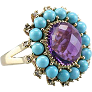 Colorful Amethyst, Turquoise and White Sapphire Cocktail Ring