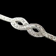 Sparkling Diamond Infinity Bracelet, Art Deco Era Diamond and 14K White Gold Cocktail Piece