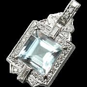 Stunning Aquamarine and Fine Diamond Pendant, Upcycled Beauty