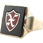 Vintage Men's Ring in 10K Gold, Fine Onyx with Enamel X Inlay