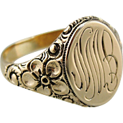 Beautiful Floral Antique Signet Ring with Original Engraving