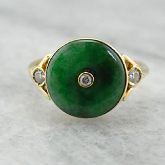 Vintage Green Jade Disc Ring with Diamond Accents, 18K Gold