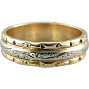 Carved and Engraved Vintage Wedding Band in 14k Yellow and White Gold
