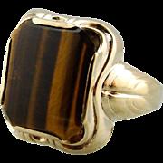 Men's Mid-Century Tiger's Eye Statement Ring, Vintage Tiger's Eye Ring