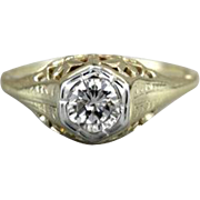 Sweet 14K Green Gold Filigree and Diamond Engagement Ring