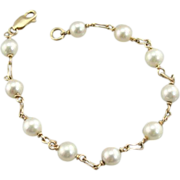 Fine Station Style Gold and Pearl Bracelet, Beautiful Wedding or Bridal Gift