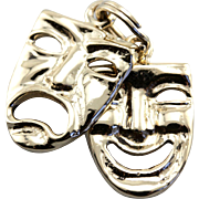 Comedy and Tragedy Masks Charm, Vintage Drama Masks Charm