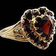 Romantic Vintage Garnet Heart Halo Ring, Garnet Anniversary Ring