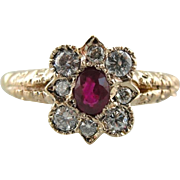 Ruby and Diamond Halo, Engagement or Cocktail Ring