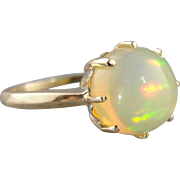 Simplicity! Welo Ethiopian Opal & Vintage Gold Cocktail Ring