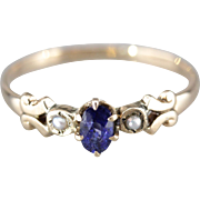 Sweet Sapphire and Seed Pearl Ring