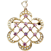 Art Nouveau Pink Tourmaline and Seed Pearl Pendant or Brooch