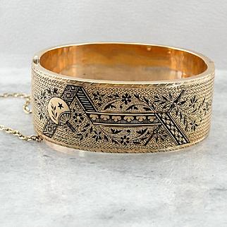 Antique Victorian Black Enamel Hinged Bangle Bracelet