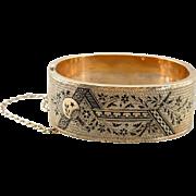 Black Bird Mourning: Antique Victorian Black Enamel Hinged Bangle Bracelet