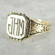 "Exquisite 1930's 14K Green Gold Signet, ""JHM"" Monogram Ring"
