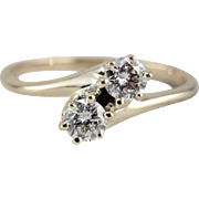 Double Diamond Vintage Bypass Ring