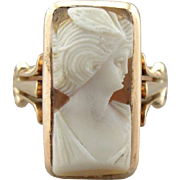 Victorian Cameo Cocktail Ring, Elegant Emerald Shape