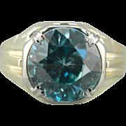Large Blue Zircon, Green and White 14 Karat Gold Statement Ring