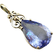 Stunning Tanzanite Pendant with Antique Victorian Accents
