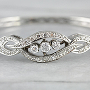 Elegant Diamond Bangle Bracelet, Vintage Diamond Bracelet