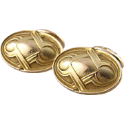 Amazing 1800's Victorian Cufflinks, Textured Geometric Design