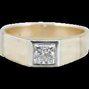 Mens Minimalist Ring with Square Cut Diamond, German 8K Gold