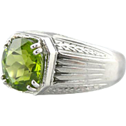 Substantial Etched Ring with Fine Green Peridot