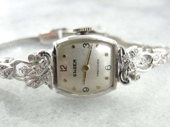 vintage diamond gruen women 39 s wrist watch from. Black Bedroom Furniture Sets. Home Design Ideas