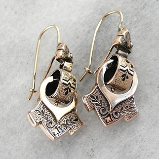 1800's Victorian Black Enamel Drop Earrings