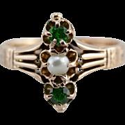 Victorian Cultured Seed Pearl and Demantoid Garnet Dinner Ring