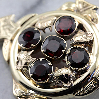 Antique Victorian Garnet Cluster Brooch