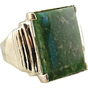 1960's Men's Jade Cabochon Statement Ring