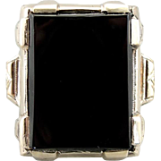 Handsome Men's Black Onyx Ring in Vintage Mounting