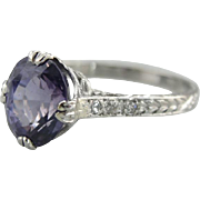 Pristine Purple Sapphire Solitaire Engagement Ring