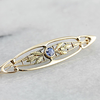 Beautiful Sapphire Bar Pin with Leaf Details