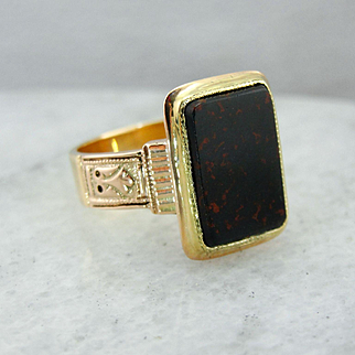 Victorian Bloodstone Ring in Rose 14K Gold Mounting
