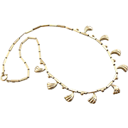 Modernist and Ancient: Tribal Style  Tube Chain Necklace with Decorative Charms
