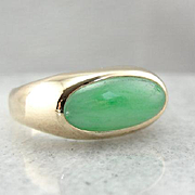 Apple Green Jadeite and 14K Yellow Gold Ring