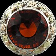 Superb Hessonite Garnet Cocktail Ring, Upcycled Filigree Ring