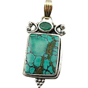 Turquoise and Emerald, Mixed Metal Pendant, One of a Kind