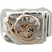Enameled Shriners, Rose Gold Salaam Vintage Statement Ring in Sterling Silver