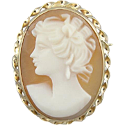 Small Cameo Pendant or Brooch, Vintage 14K Yellow Gold Cameo for Necklace or Lapel Pin
