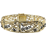 Vintage Gold Gilt and Marcasite German Made Filigree Bracelet