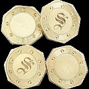 Old English S Monogrammed Octagonal Cufflinks
