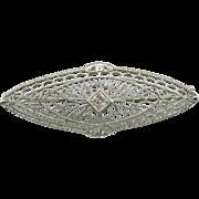 Edwardian Filigree, Diamond Bridal Brooch
